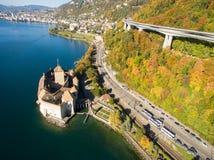 Vista aerea del castello di Chillon - Chateau de Chillon a Montreux, Svizzera Fotografia Stock Libera da Diritti