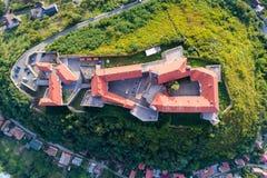 Vista aerea del castello di Palanok, situata su una collina in Mukacheve, l'Ucraina Fotografia Stock Libera da Diritti