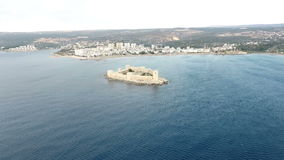 Vista aerea del castello nubile Kiz Kalesi del ` s stock footage