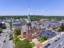 Vista aerea del centro di Natick, Massachusetts, U.S.A. fotografia stock libera da diritti