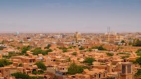 Vista aerea del centro storico di Yazd, Iran La città è famosa per i badgirs, una torre del windcatcher come forma tradizionale d Fotografie Stock Libere da Diritti