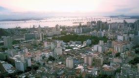 Vista aerea del centro urbano con il porto Fotografia Stock