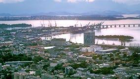 Vista aerea del centro urbano con il porto Fotografia Stock Libera da Diritti