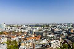 Vista aerea del centro urbano di Amburgo, Germania Fotografia Stock