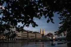 Vista aerea del centro urbano di Zurigo immagine stock