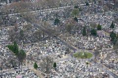 Vista aerea del cimitero di Parigi Fotografia Stock