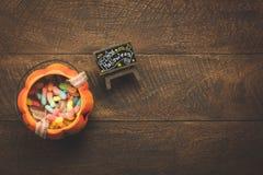Vista aerea del concetto felice del fondo di festival di Halloween della decorazione accessoria Fotografia Stock Libera da Diritti