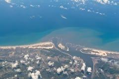 Vista aerea del confine della Bahia e del Sergipe nel Brasile Immagine Stock