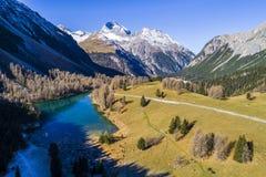 Vista aerea del distretto di Albula del passaggio in Svizzera Immagini Stock