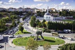 Vista aerea del distretto di Zeytinburnu dal lato europeo di Costantinopoli, Turchia Fotografia Stock