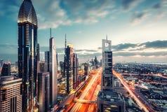 Vista aerea del Dubai del centro, UAE Orizzonte scenico immagini stock