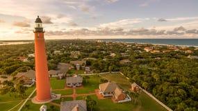 Vista aerea del faro in Daytona Beach Florida fotografia stock libera da diritti