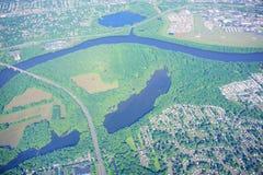 Vista aerea del fiume Connecticut e di Hartford Fotografia Stock Libera da Diritti