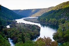 Vista aerea del fiume della foresta di Krka Immagine Stock