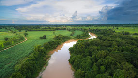 Vista aerea del fiume di 'chi' Immagine Stock Libera da Diritti