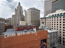 Vista aerea del fuco dei graffiti in una città Immagini Stock Libere da Diritti