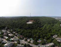 Vista aerea del fuco della città di Montreal in supporto del parco di estate reale immagine stock