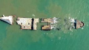 Vista aerea del fuco di vecchio naufragio S S Palo Alto stock footage
