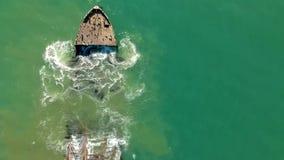Vista aerea del fuco di vecchio naufragio S S Palo Alto video d archivio