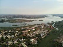 Vista aerea del fuco del niarela Quizambougou Niger Bamako Mali fotografia stock
