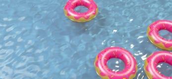 Vista aerea del giocattolo gonfiabile variopinto della ciambella dell'anello in acqua della piscina da sopra, rappresentazione 3d Immagine Stock Libera da Diritti