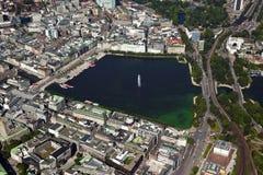 Vista aerea del lago Alster a Amburgo Immagini Stock Libere da Diritti