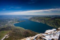 Vista aerea del lago lucerne dalla montagna superiore di Rigi Immagine Stock Libera da Diritti