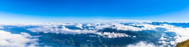 Vista aerea del lago lucerne e delle alpi dalla cima del mounta di Rigi Immagine Stock Libera da Diritti