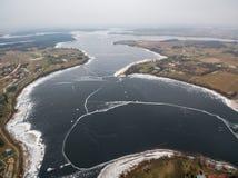 Vista aerea del lago Rajgrodzkie vicino a Rajgrod Fotografia Stock