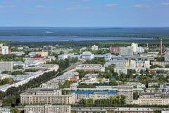 Vista aerea del lato est di Ekaterinburg, Russia immagine stock libera da diritti