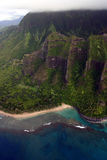 Vista aerea del litorale del Na Pali Fotografia Stock