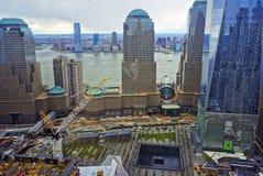 Vista aerea del memoriale nazionale dell'11 settembre dei Distr finanziari Fotografia Stock Libera da Diritti