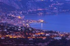 Vista aerea del Monaco e di Menton Fotografia Stock Libera da Diritti