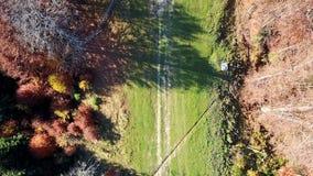 Vista aerea del movimento dei veicoli su una strada della montagna carpathians Vista superiore video d archivio