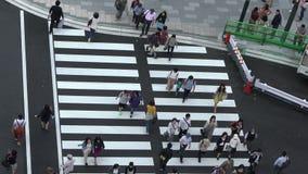 Vista aerea del movimento lento, folla della gente che cammina nella stazione Marunouchi di Tokyo stock footage