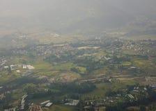 Vista aerea del Nepal dall'ala dell'aeroplano Fotografia Stock