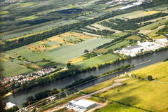 Vista aerea del paesaggio con il fiume Immagini Stock Libere da Diritti