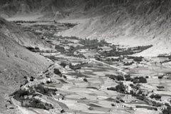 Vista aerea del paesaggio del ladakh, dalla cima del passaggio di Changla Fotografia Stock Libera da Diritti