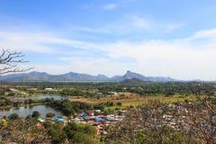 Vista aerea del paesaggio del villaggio della campagna, lopburi Fotografia Stock