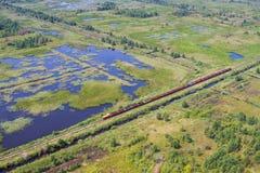 Vista aerea del paesaggio e del treno della palude con tappeto erboso Immagine Stock