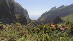 Vista aerea del paesino di montagna in canyon di Masca da sopra su Tenerife, Canarias, Spagna stock footage