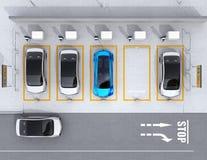 Vista aerea del parcheggio per l'affare di car sharing Fotografia Stock Libera da Diritti