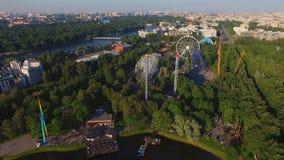 Vista aerea del parco di Amusment video d archivio