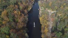 Vista aerea del parco nazionale Sofiyivka di Dendrological in Uman, Ucraina Metraggio del fuco 4K archivi video