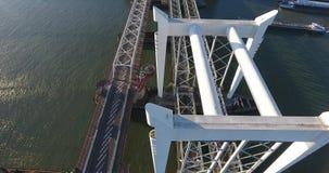 Vista aerea del ponte di Dordrecht, Paesi Bassi, tramonto stock footage