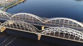 Vista aerea del ponte di Kiev video d archivio
