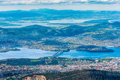 Vista aerea del ponte di Tasman e di Hobart, Tasmania Fotografia Stock