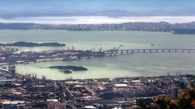 Vista aerea del porto con il ponte di Niteroi Immagini Stock