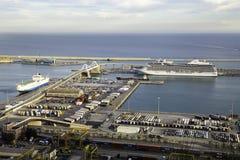 Vista aerea del porto di Barcellona Fotografia Stock