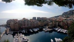 Vista aerea del porto e della residenza di Fontvieille video d archivio